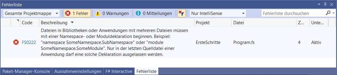 Visual Studio Fehlermeldung Namespace